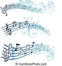 nota, música, desenho
