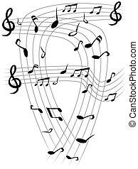 nota, música, folhas, fundo