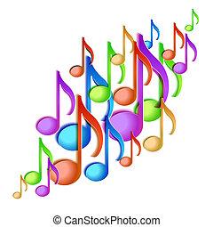 nota música, fundo, design.