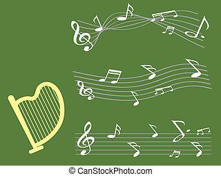 nota, música, fundo, harpa
