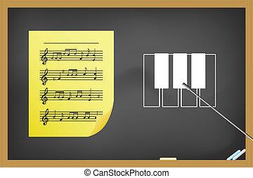 nota música, ligado, a, quadro-negro