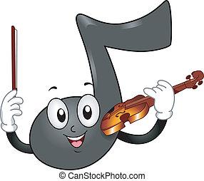 nota música, mascota, con, violín