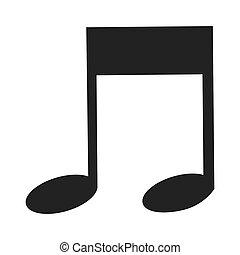 nota, música, octavo, icono