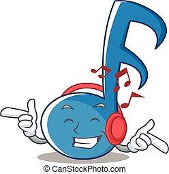 nota, música, personagem, caricatura, escutar