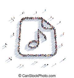 nota, música, pessoas, 3d