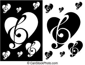nota, música, silueta, silhoue, coração
