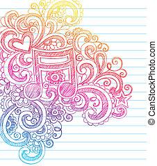 nota música, sketchy, doodles, vetorial