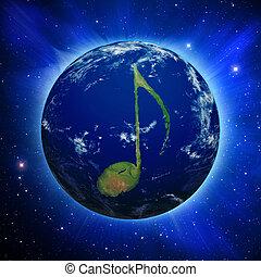 nota música, tierra