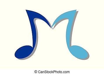 nota, m, música, carta, logotipo