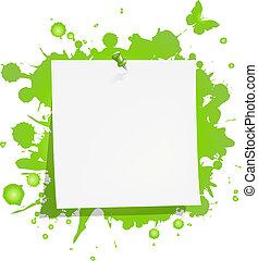 nota, macchia, verde, carta, vuoto