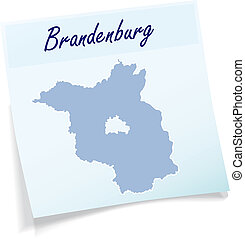 nota, mapa, brandenburg, pegajoso