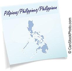 nota, mapa, filipinas, pegajoso