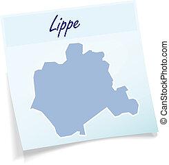 nota, mapa, lippe, pegajoso
