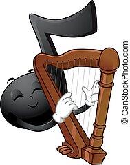 nota, mascota, música, arpa