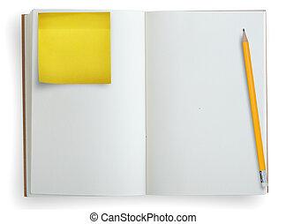 nota, matita, quaderno, aperto, carta