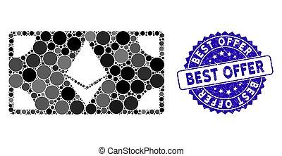 nota, melhor, ícone, oferta, selo, mosaico, ethereum, arranhado