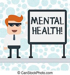 nota, mental, escritório, nível, negócio, foto, mostrando, whiteboard, trabalhador, wellbeing, escrita, psicológico, estado, presentation., sunglass, em branco, showcasing, reunião, ou, demonstrar, health.