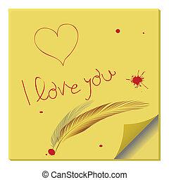 nota, messaggio, carta, amore