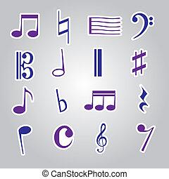 nota musica, adesivi, icona, set, eps10