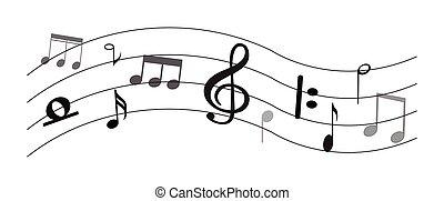 nota musica, con, simboli