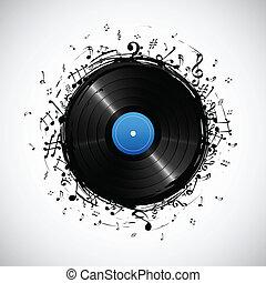 nota musical, de, disco