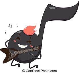 nota musical, mascote, rocha, rolo