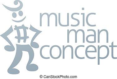 nota, musical, mascote
