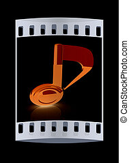 nota, musicale, striscia, nero, film, fondo., 3d