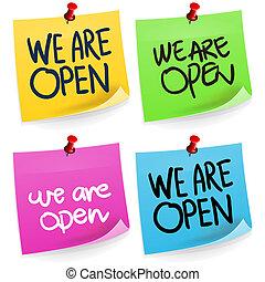 nota, nós, abertos, pegajoso