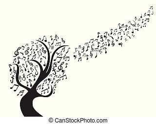 nota, nero, musica, albero