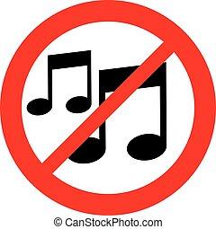 nota, non lasciato, musica, segno
