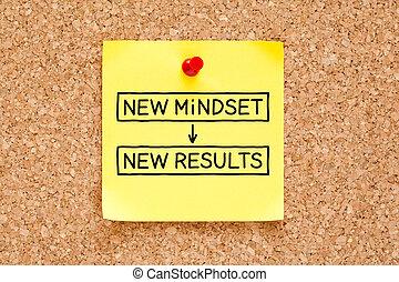 nota, nuevo, mindset, resultados, pegajoso