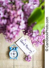 nota, orologio, old-styled, buon giorno
