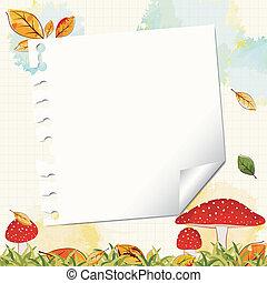 nota, outono, papel, fundo, coloridos