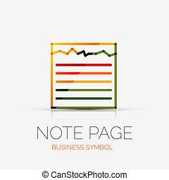 nota, página, companhia, logotipo, conceito negócio