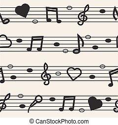 nota, padrão, música, seamless, fundo
