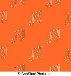 nota, padrão, vetorial, música, laranja