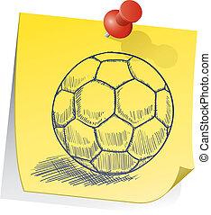 nota, palla calcio, appiccicoso
