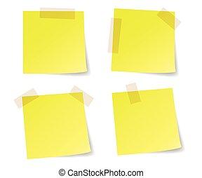 nota, palo, amarillo, papeles