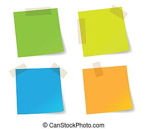 nota, palo, colorido, papeles