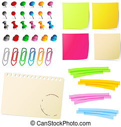 nota, papeis, com, alfinetes, e, papel, cli