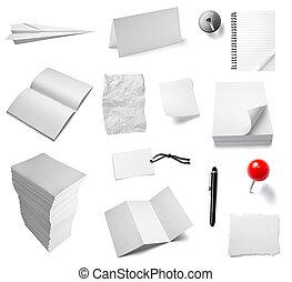nota papel, escritório, caderno, documento