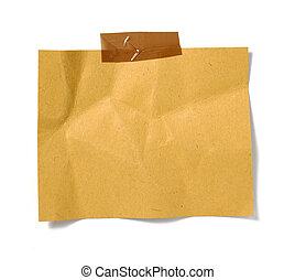 nota, papel marrón, viejo, plano de fondo