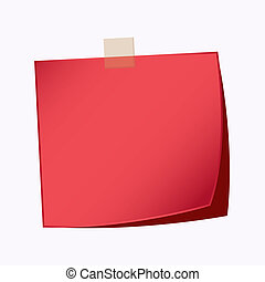 nota papel, vermelho, cor