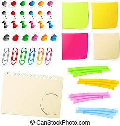 nota, papeles, con, alfileres, y, papel, cli