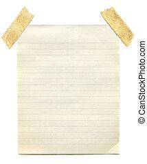nota, paper., antigas
