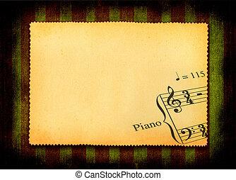 nota, parte, música, papel