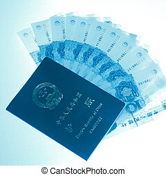 nota, passaporto, banca