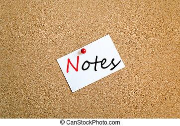 nota pegajosa, notas, concepto