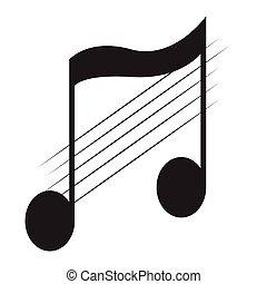 nota, pentagram, aislado, octavo